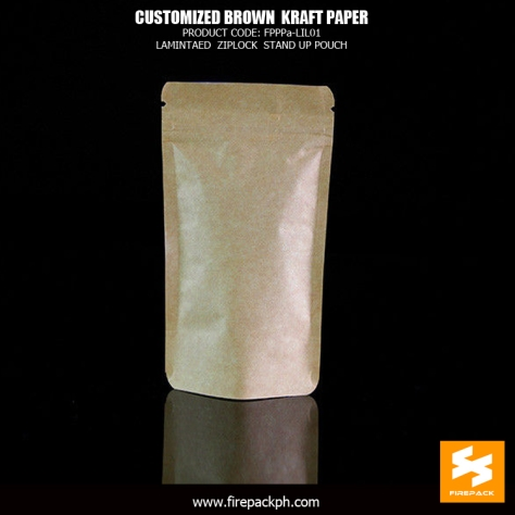 Customized brown laminated kraft paper bags stand up pouch with zipper manila supplier