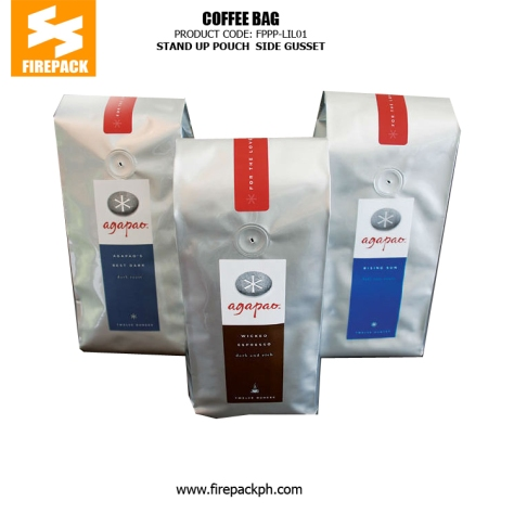 Customized Stand Up Plastic Pouches , Side Gusset Coffee Packaging Bags manila malaysia japan