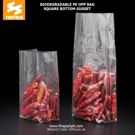 Eco Friendly OPP PE square bottom plastic bag supplier phiippiens