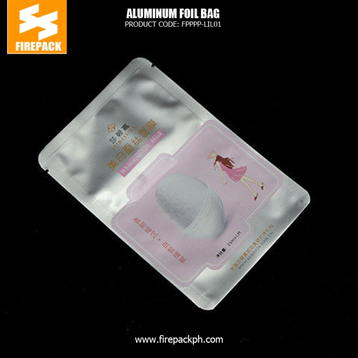 Fasion Customized Plastic Aluminum Foil Bags Facial Mask Cosmetic Packaging Bag firepack supplier