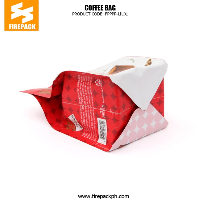 Flat Bottom Stand Up Red Coffee Packaging Bags With Tear Notch firepack packaging supplier