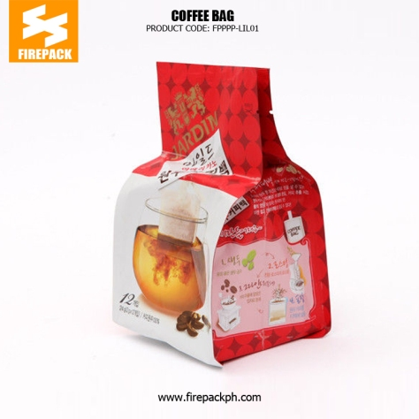 Flat Bottom Stand Up Red Coffee Packaging Bags With Tear Notch firepack supplier