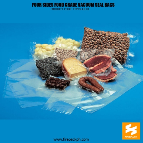 Four Side Seal Vacuum Pouch for Packing Cooked Food Bean Sausage with Heat Seal firepack