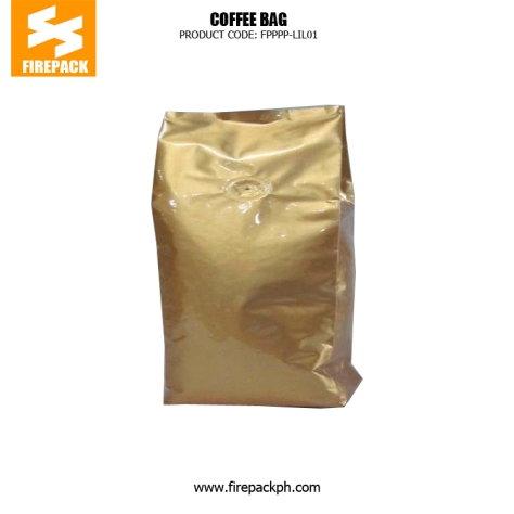 Gold Coffee Packaging Bags Stand Up Side Gusset Back Sealed supplier firepack cebu