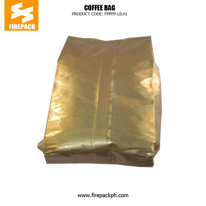 Gold Coffee Packaging Bags Stand Up Side Gusset Back Sealed supplier firepack manila