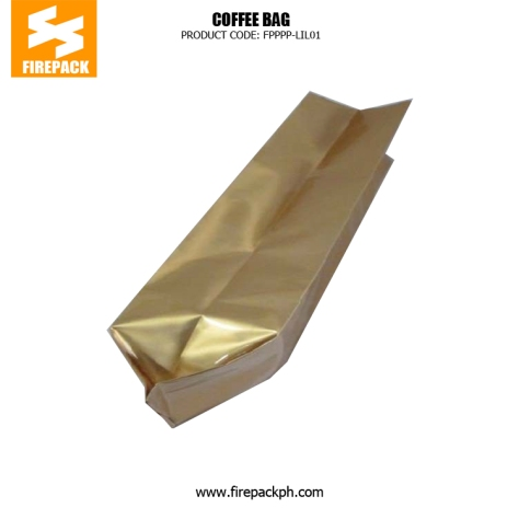 Gold Coffee Packaging Bags Stand Up Side Gusset Back Sealed supplier firepack