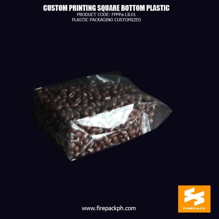 Gravure Printing Custom Printed Plastic Square Bottom Cellophane Bags firepack