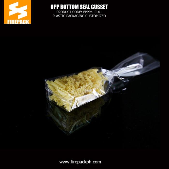 Gravure printing Header OPP Packaging Bags clear poly bag with self adhesive seal firepack manila