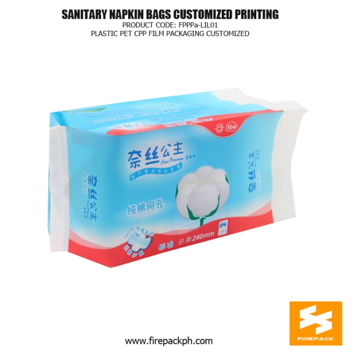 Heat Seal Sanitary Napkin Bags , Custom Printed Gusset Bag firepack