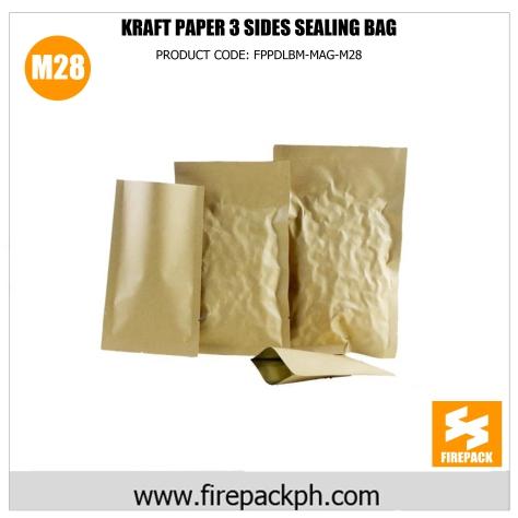 kraft paper 3 sides sealing pouch bag supplier m28