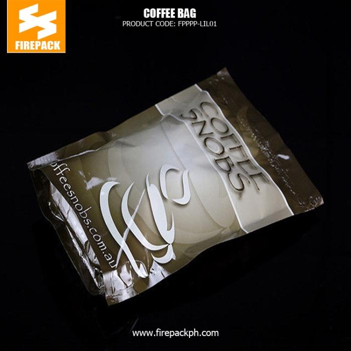 Kraft Paper Tin Tie Foil Lined custom print Coffee plastic Bag with Valve firepack cebu