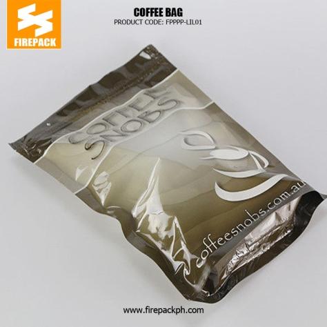 Kraft Paper Tin Tie Foil Lined custom print Coffee plastic Bag with Valve firepack USA
