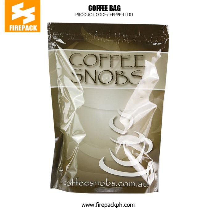 Kraft Paper Tin Tie Foil Lined custom print Coffee plastic Bag with Valve firepack