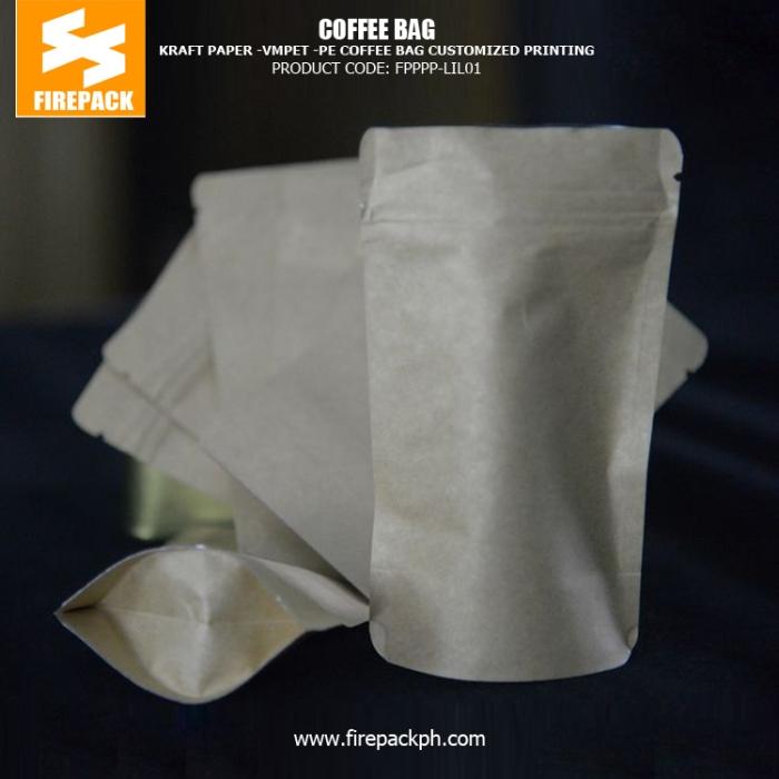 Kraft Paper -VMPET - PE Coffee Bag Packaging Printing Label with Zippers firepack