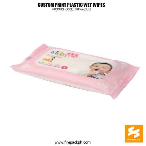 Laminated Custom Printed Plastic Wet Wipes Packaging Bags For Promotion firepack