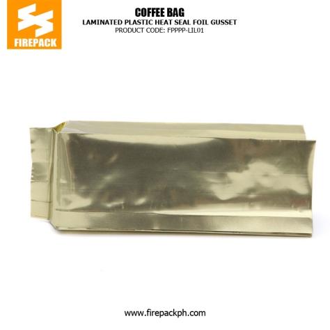 Laminated Plastic Heat Seal Foil Gusset Coffee Packaging Bags firepack