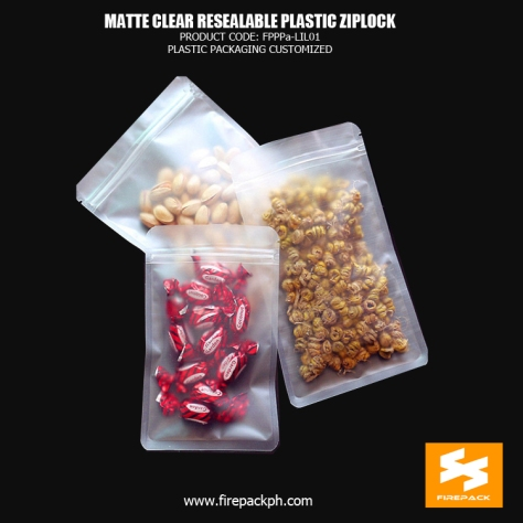 Matte Clear Resealable Plastic Ziplock Bags Pouch For Food Packaging firepack cebu