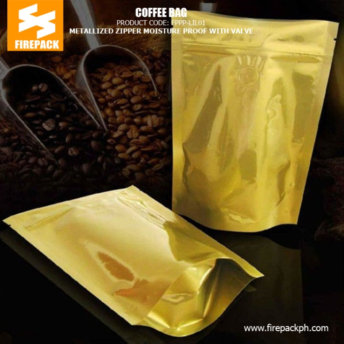 Metallized Zipper Coffee Bag Packaging Yellow Recycled Moistureproof With Valve firepackph