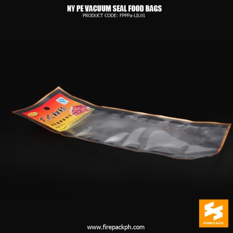 NY1PE material composite clear vacuum seal food storage bags Custom snack manila supplier
