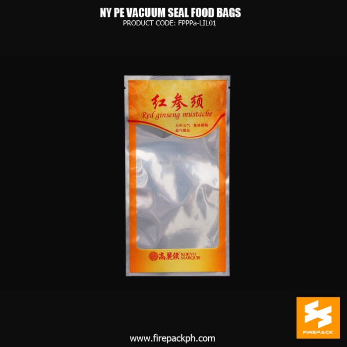 NY1PE material composite clear vacuum seal food storage bags Custom snack use supplier maker cebu