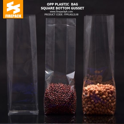 opp clear plastic square bottom gusset supplier philippines