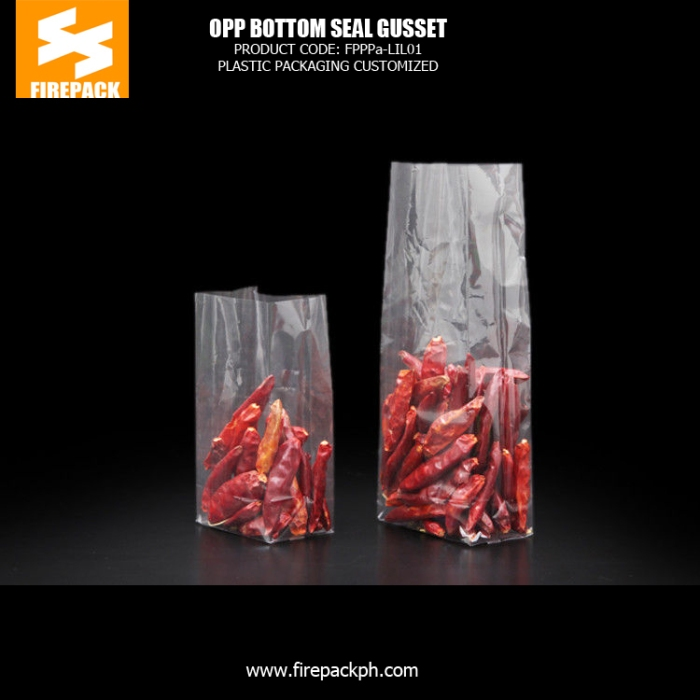 OPP Clear Square Bottom Packaging Bags For Cooking Spices firepack