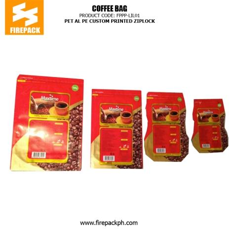 PET AL PE Coffee Bag Packaging Stand Up Custom Printed With Zipper firepack manila