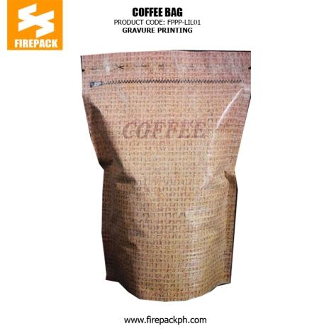PET-AL-PE Coffee Packaging Bags with Zipper Top , Gravure Printing firepack