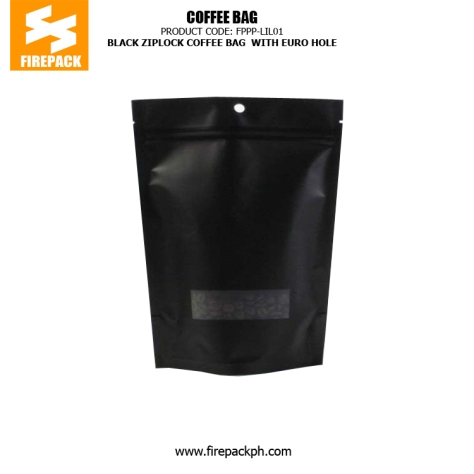 PET -PE Black Zipper Coffee Packaging Bags With Euro Hole firepack
