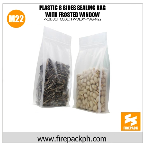 plastic 8 sides seasling bag bag with frosted window m22