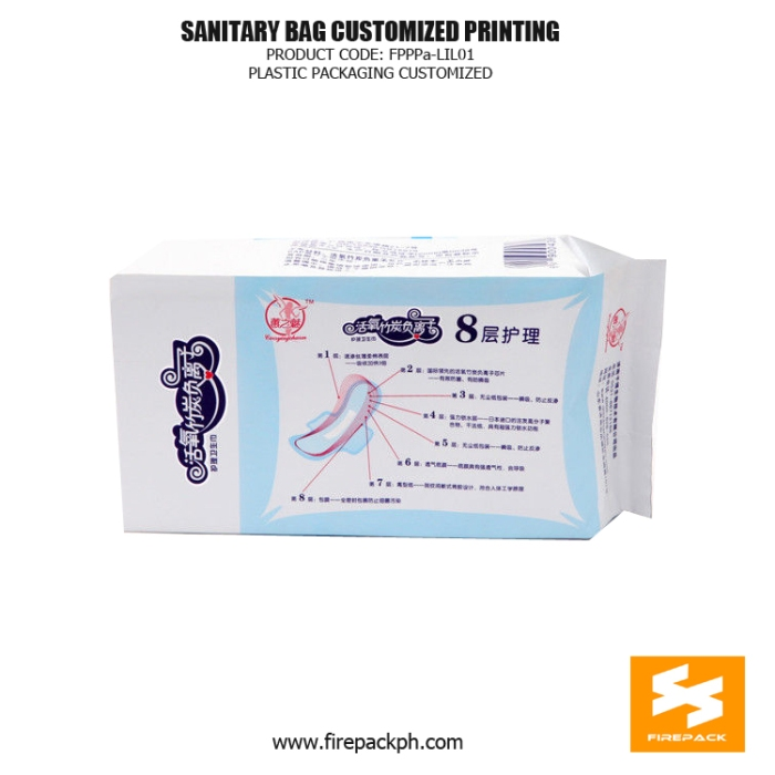 Plastic Sanitary Towel Bag Side Gusset With Adhesive Sticker firepack supplier
