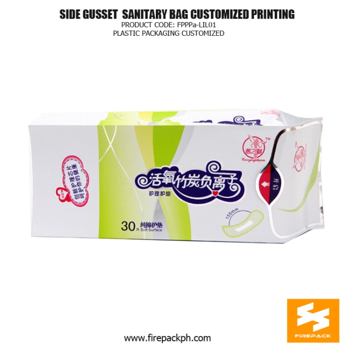 Plastic Side Gusset Sanitary Napkin Bags Heat Seal With Label manila supplier