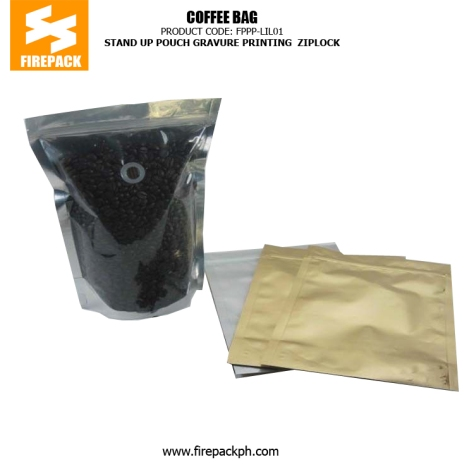 Plastic zipper stand up pouch Coffee Packaging Bags with handle , Gravure Printing MANILA philippines
