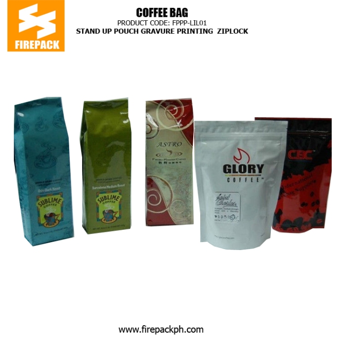 Plastic zipper stand up pouch Coffee Packaging Bags with handle , Gravure Printing manila supplier firepack