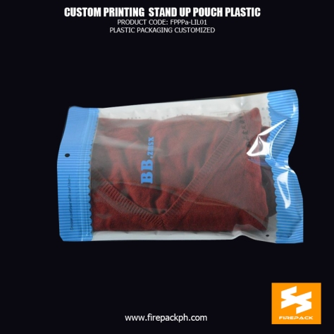 Polyethylene Zip Lock Stand Up Packaging Bags For Sports Clothes firepack