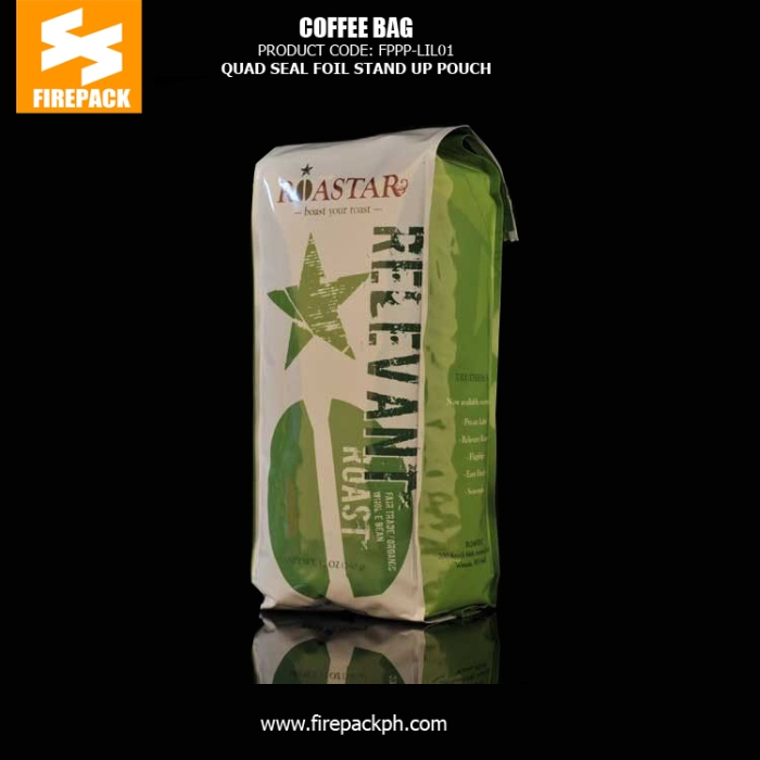 Quad Seal Foil Coffee Packaging Bags , Stand up Coffee Pouch firepack