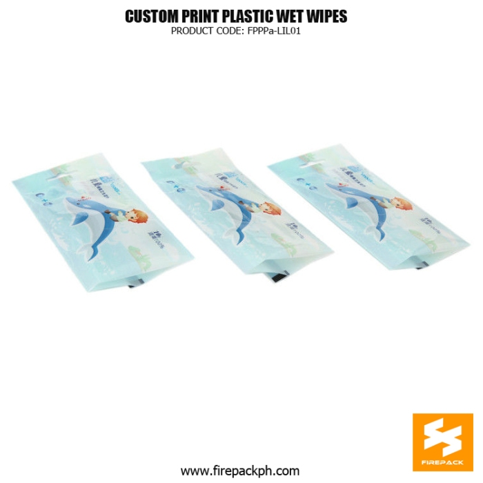 Recyclable Back Seal Bag , Wet Tissue Bag With Sticker firepack