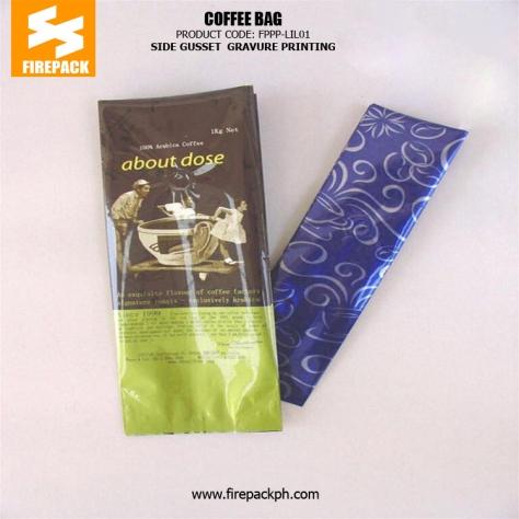 Side Gusset Coffee Packaging Bags PET AL PE with Gravure Printing firepack