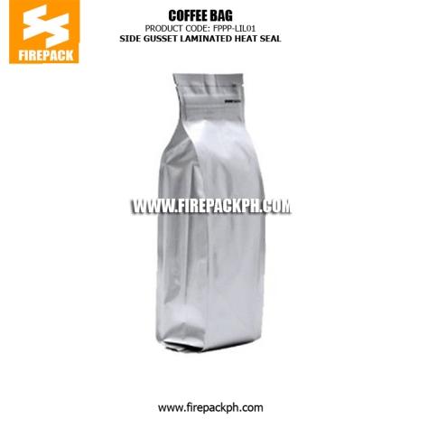 Side Gusset Heat Seal Coffee Packaging Bags , Laminated Coffee Bag firepack manila