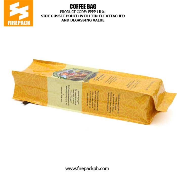 Side Gusset Pouch With Tin Tie Attached And Degassing Valve firepack