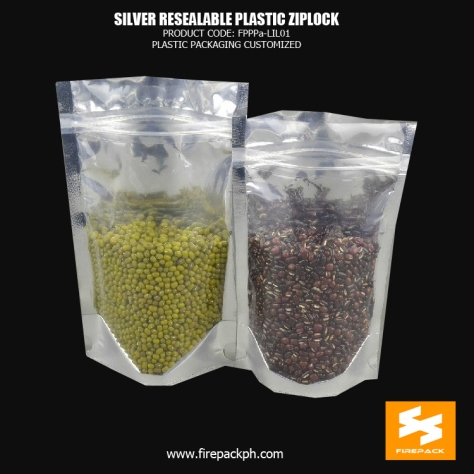 Silver Stand Up Bag , Plastic Ziplock Bags For Dried Fruit firepack pakistan