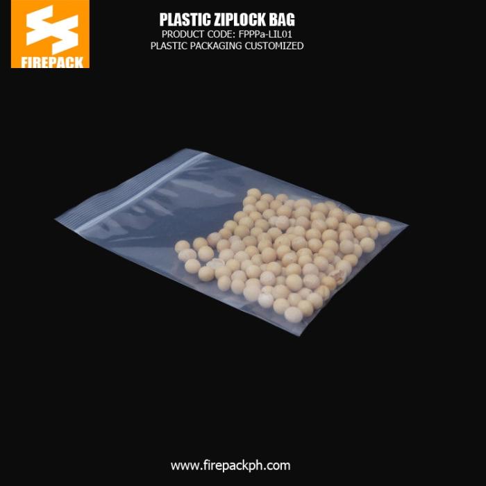 Snack Food Plastic Ziplock Bags , PE Clear Zipper Pouch firepack manila