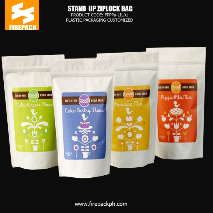 Stand up Plastic Ziplock Pouch Bags for Cookies with Gravure Printing firepack bahrain
