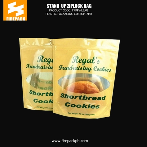 Stand up Plastic Ziplock Pouch Bags for Cookies with Gravure Printing firepack dubai