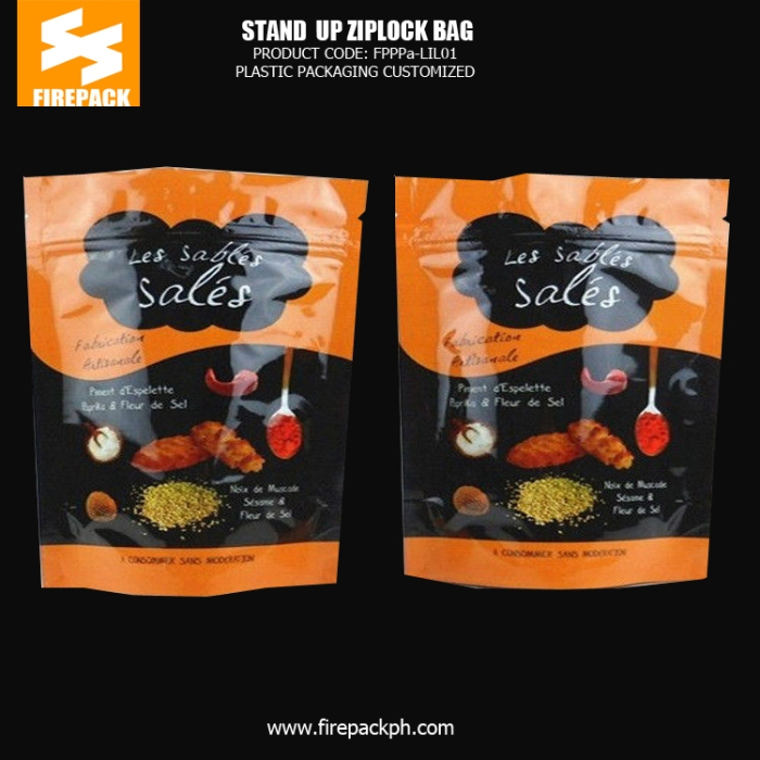Stand up Plastic Ziplock Pouch Bags for Cookies with Gravure Printing firepack kuwait