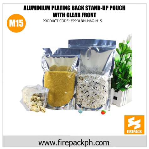 stand up pouch with window aluminum plating supplier m15