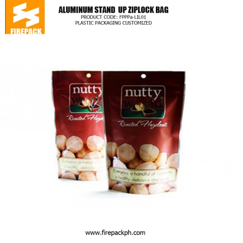 Stand up Zipper Pouch Plastic Ziplock Bags with Clear Window for Packaging Tea firepack manila
