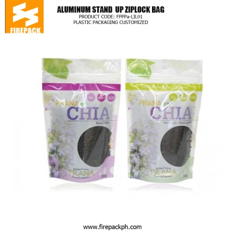 Stand up Zipper Pouch Plastic Ziplock Bags with Clear Window for Packaging Tea packaging