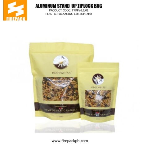 Stand up Zipper Pouch Plastic Ziplock Bags with Clear Window for Packaging Tea supplier maker