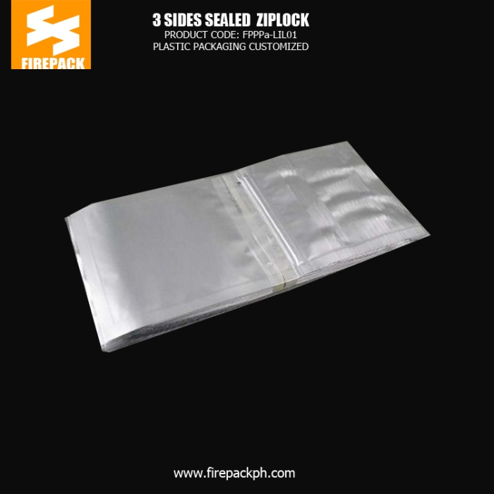 Three Sides Sealed Plastic Ziplock Bags , Silver Zipper Bag3 supplier cebu